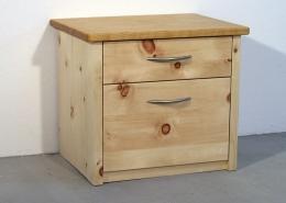Zirbenholz-Nachtkästchen 04.1 mit Nachttisch-Platte aus Kirschbaum, 2 verschieden großen Schubladen, von Original Steiner Zirbenbett