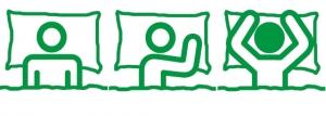 Piktogramm Drei Schlaftypen: Rücken-Schläfer, Seiten-Schläfer, Bauch-Schläfer