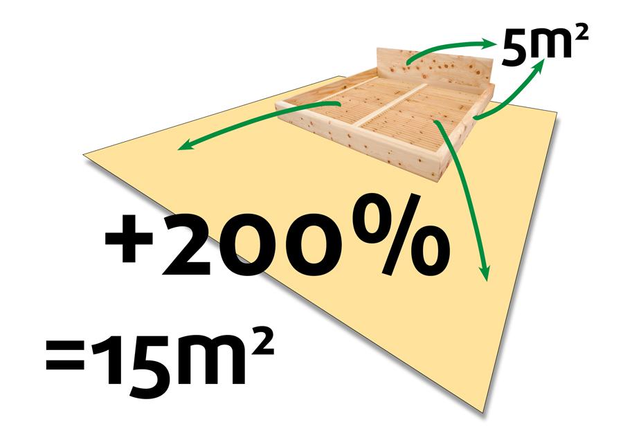 Original Steiner Zirbello - schematische Darstellung des Zuwachses an Zirbenholzoberfläche, plus 200%