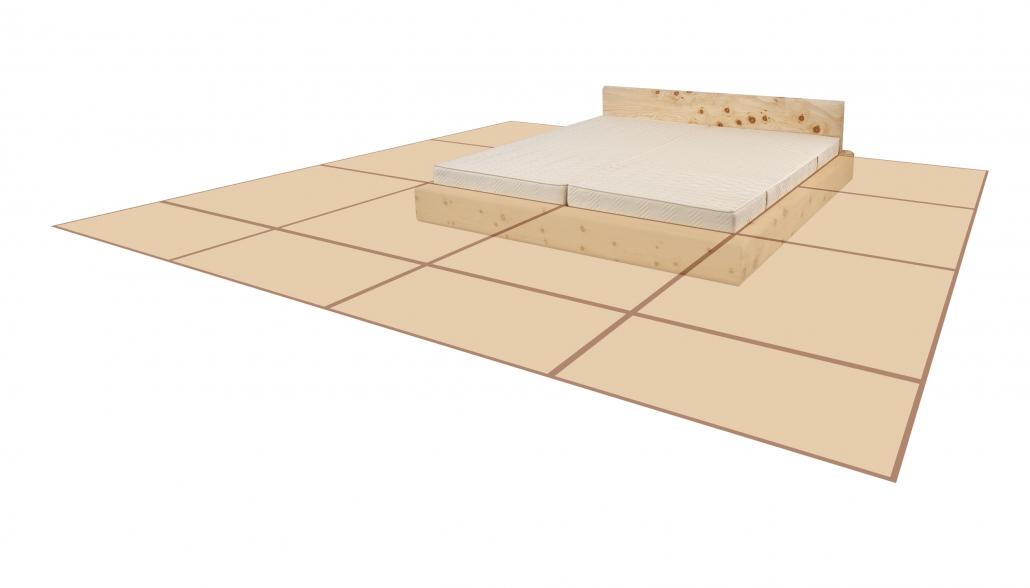 Original Steiner Zirbenbett Rosengasse mit Flächengitter-Modell symbolisiert den Zuwachse an Zirbello-Zirbenduftfläche