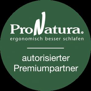 ProNatura Logo Autorisierter Premiumpartner, ergonomisch besser schlafen