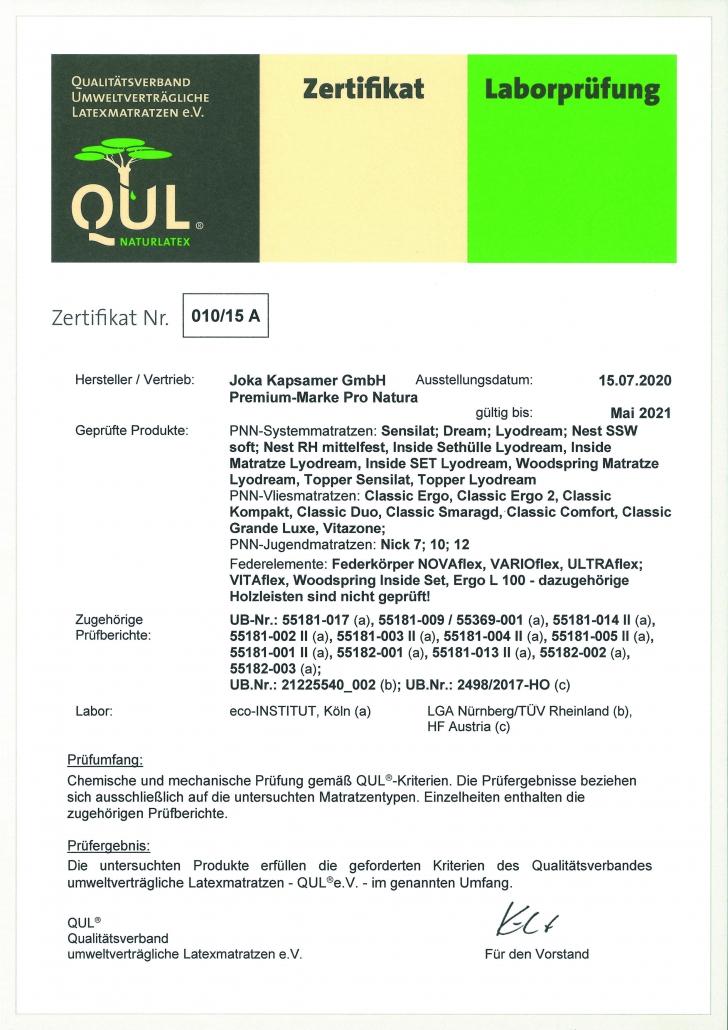 QUL-Zertifikat für ProNatura-Schlafsysteme